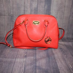 Michael Kors Large Orange Saffiano Dome Satchel